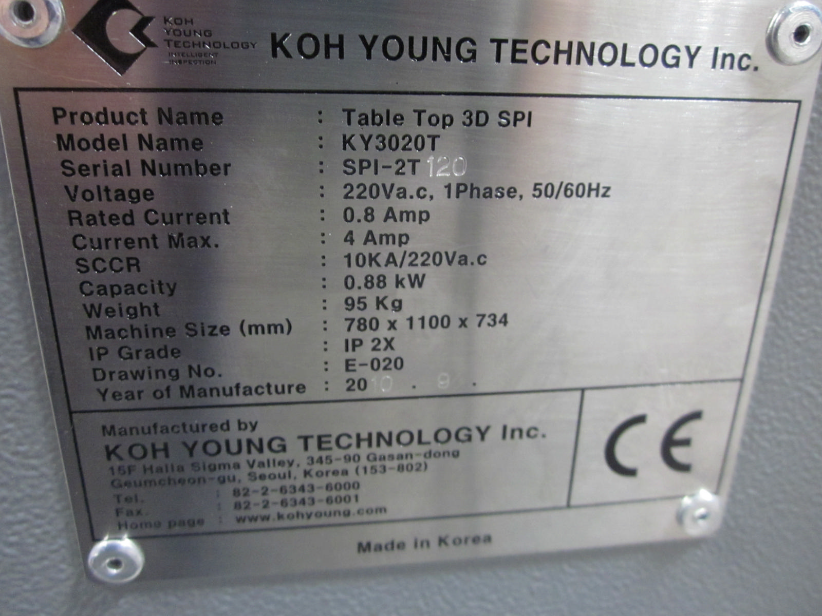 Koh Young KY3020T 3D SPI Table Top System   112304